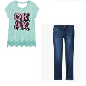 Girls Sweater Top and Skinny Jeans Outfit Size 16